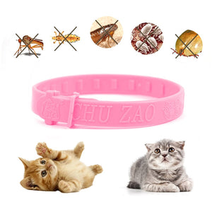 5PCS Adjustable Pet Collar Anti Flea Ticks Mosquitoes Pink Outdoor Cat Dog Collar Pet Protect Repel Rubber Necklace High Quality