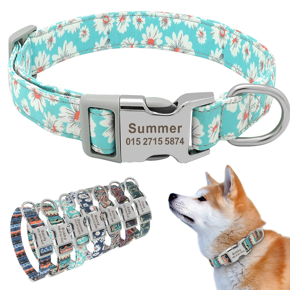 Custom Engraved Dog Collar Personalized Printed Pet Dog Tag Collar Nylon Puppy Cat Name Phone ID Collars For Small Large Dogs