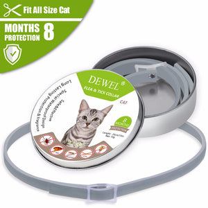 Dewel Cat Collar Anti Tick Dogs Small Flea Collar Mosquitoes Waterproof Pets Accessories for Cat 8 Months Protection