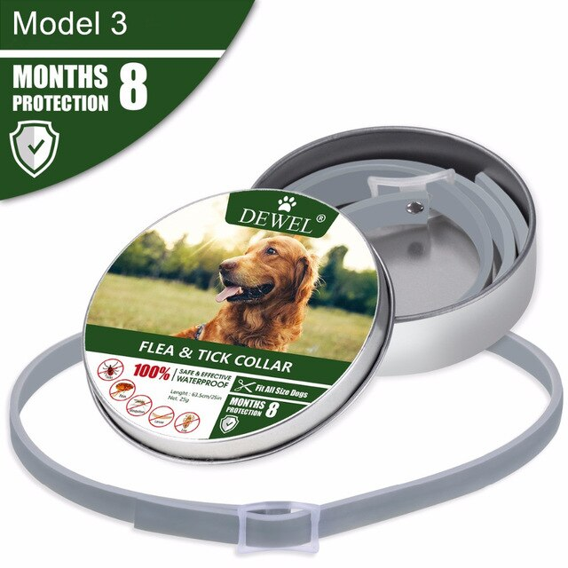 Dewel Summer Anti-insect Cat Dog Collar Anti Flea Mosquitoes Ticks Waterproof Cat Flea Collar for Pet 8 Months Protection