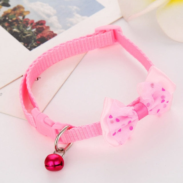 Fashion Adjustable Cute Necktie Dog Cat Pet Collar Nylon Bell Kitten Candy Color Bow Tie Bowknot Likesome Collars