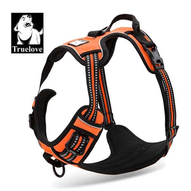 Truelove Front Range Reflective Nylon large pet Dog Harness All Weather  Padded  Adjustable Safety Vehicular  leads for dogs pet