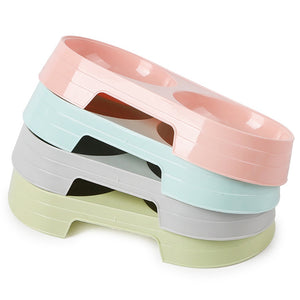 Cheap Candy Color Plastic Pet Double Bowls Creative Easy To Clean Bowl Pet Food Water Feeder Dog Cat Bowl Pet Feeding Supplies