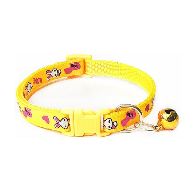 New Cute Cartoon Pet Collars Puppy Adjustable Polyester Necklace Lovely With Bells Print Cat Dog Necklace Collar Supply
