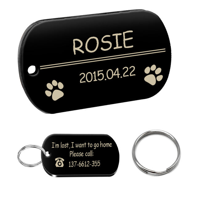 Personalized Dog ID Tag Stainless Steel Customized Military Dog Tags Engraved Pet Name Birthday Phone No. and Gender with Ring