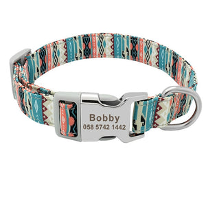Custom Dog Collar Nylon Floral Engraved Pet Puppy Collar Print Personalized Name Collars for Small Medium Large Dogs Pitbull