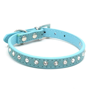 11 Colors Bling Rhinestone PU Leather Collar For Dog Pet Accessories Crystal Diamond Dog Collar and Leash For Small Large Dogs