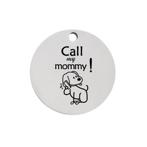 Personalized Pattern Small Pet Dog ID Tag 6211001 Custom Metal Stainless Steel Round Engraved Tags For Large Dogs