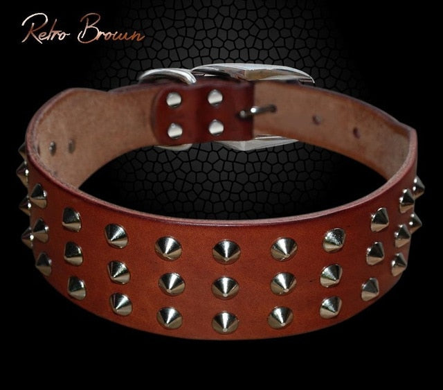 Pug Dog Collar Leather Adjustable Spikes Pet Collar For Small Medium Large Dogs Black Brown Bull Dog coleira