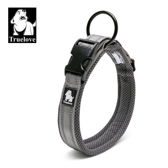 Truelove Adjustable Mesh Padded Pet Dog Collar 3M Reflective Nylon Dog Collar Durable Heavy Duty for all breed all weather 8size
