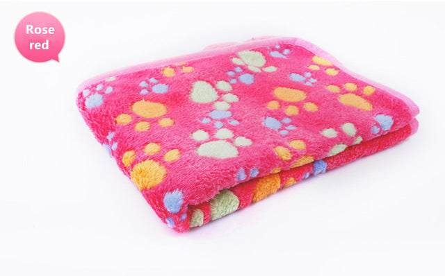 3 Colors  40x60cm 75x50cm  Cute Floral Pet Sleep Warm Paw Print towel Dog Cat Puppy Fleece Soft Dog Blanket Pet Dog Beds Mat