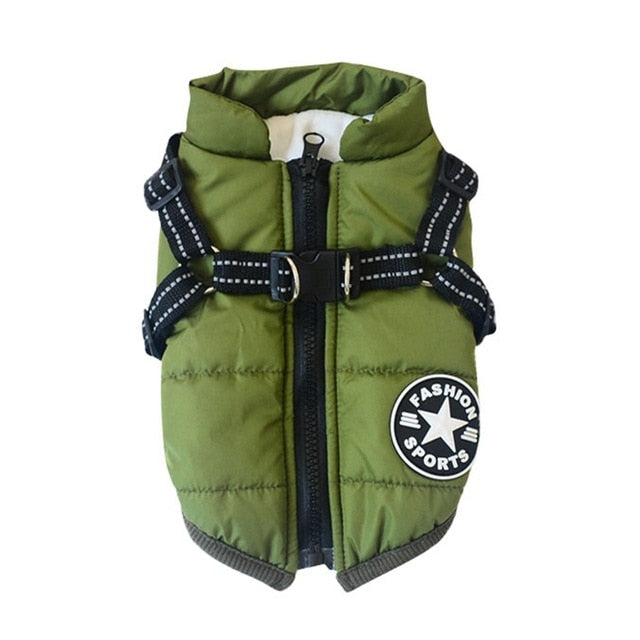 Pet Harness Coat Winter Cotton Jacket with Harness Puppy Outdoor Walking Adjustable Chest Strap Dog Cloth Vest Chihuahua Bulldog