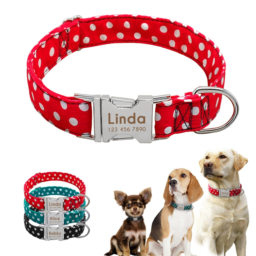 Personalized Nylon Puppy Dog Collar Adjustable Pet ID Tag Free Engraving Collars Tags For Small Medium Large Dogs Dot Pattern