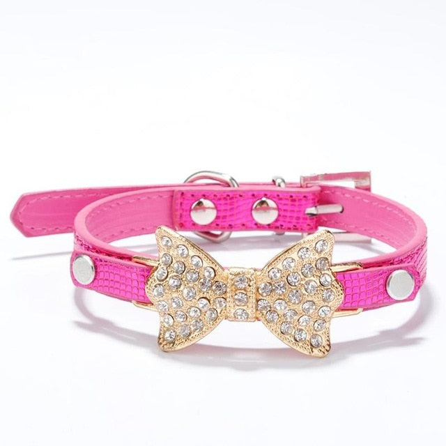 Rhinestone Dog Collars Small Dogs Bling Crystal Bow PU Leather Pet Collar Puppy Cats Necklace Dog Harness Leash Dog Accessories