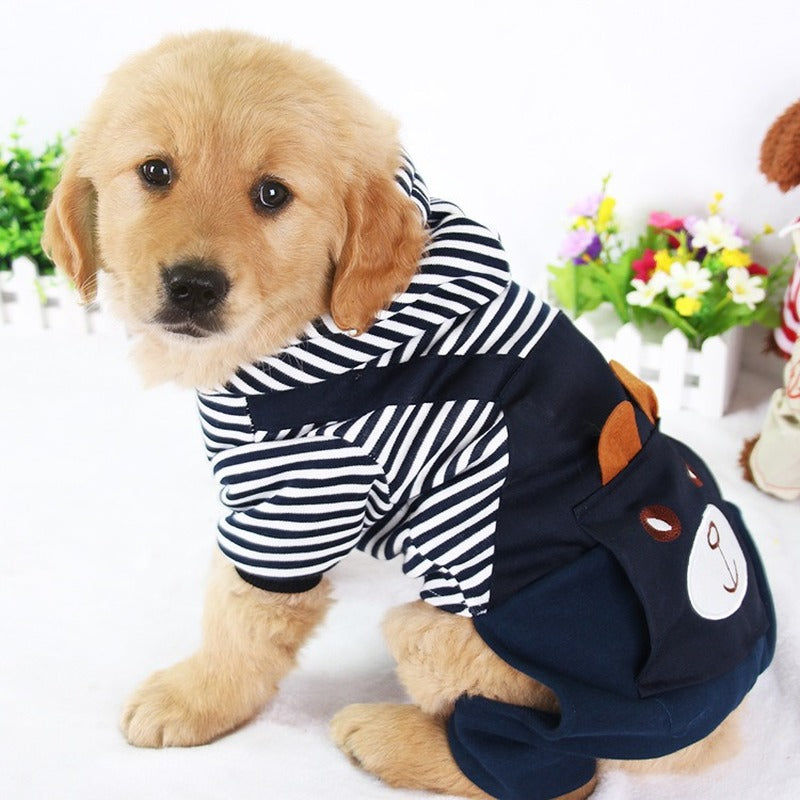 PUOUPUOU Fashion Striped Pet Dog Clothes for Dogs Coat Hoodie Sweatshirt Winter Ropa Perro Dog Clothing Cartoon Pets Clothing