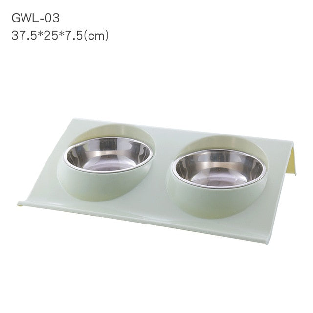 Pet Double Bowls Food Water Feeder Stainless Steel Cat Food Bowl for Dog Puppy Cats Pets Supplies Feeding Dishes S/M