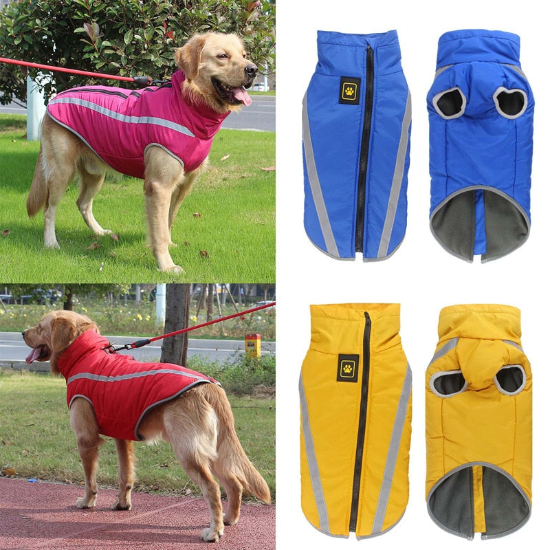 Waterproof Dog Clothes for Large Dogs Winter Warm Big Dog Jackets Padded Fleece Pet Coat Safety Reflective Design Dog Clothing