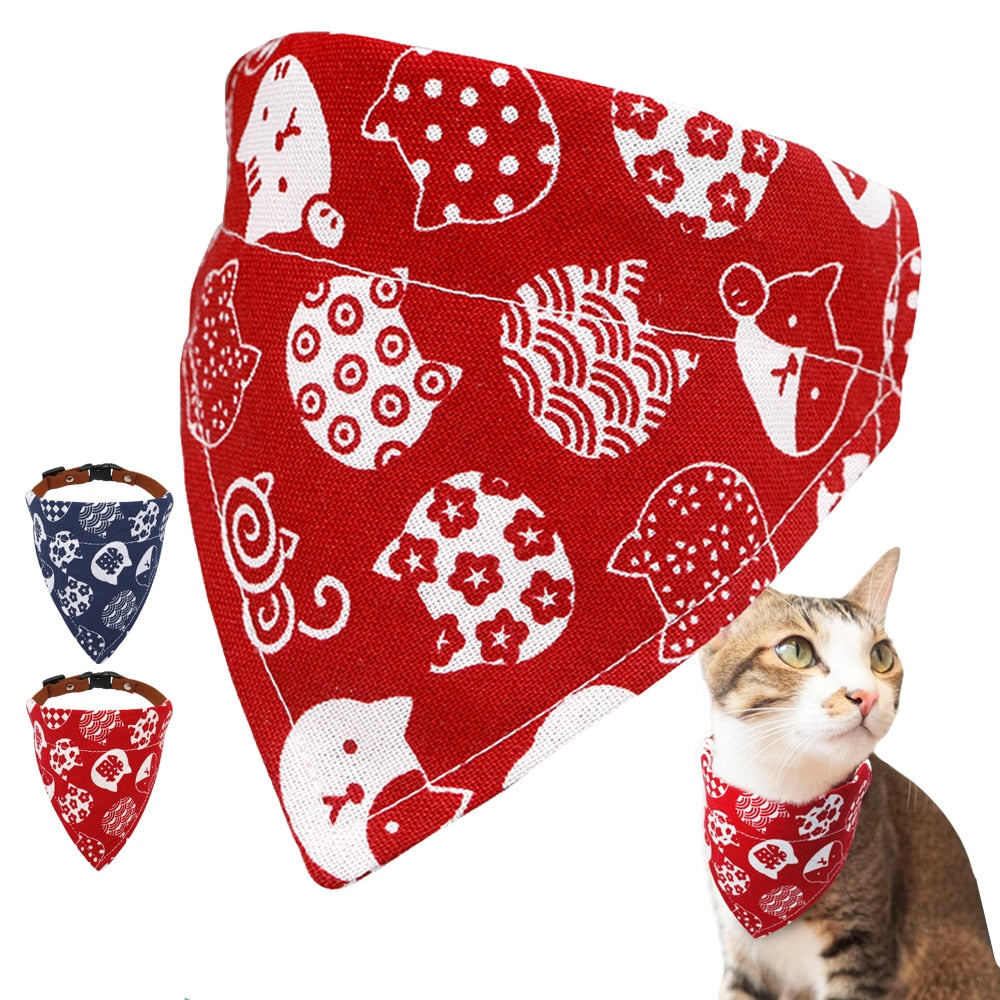 Soft Dog Collar Adjustable Pet Bandana Collar Pet Neckerchief Printed For Small Dogs Cats Puppy Collar Neck Scarf Blue Red