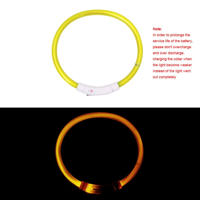 USB Charging Pet Dog Collar Rechargeable LED Tube Flashing Night Dog Collars Luminous Safety Puppy Cat Collar With Battery
