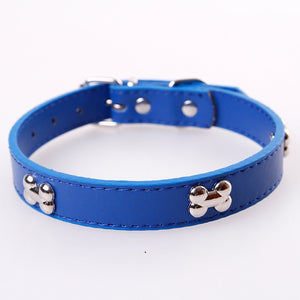 Bone Leather Durable Pet Dog Collar Pet Supplies Accessories Neck Strap Collar For Dog Puppy Pug Collars For Small Large Dogs