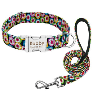 Dog Collar Custom Nylon Puppy Cat Dog Tag Collar Leash Personalized Pet Nameplate ID Collars Adjustable For Medium Large Dogs