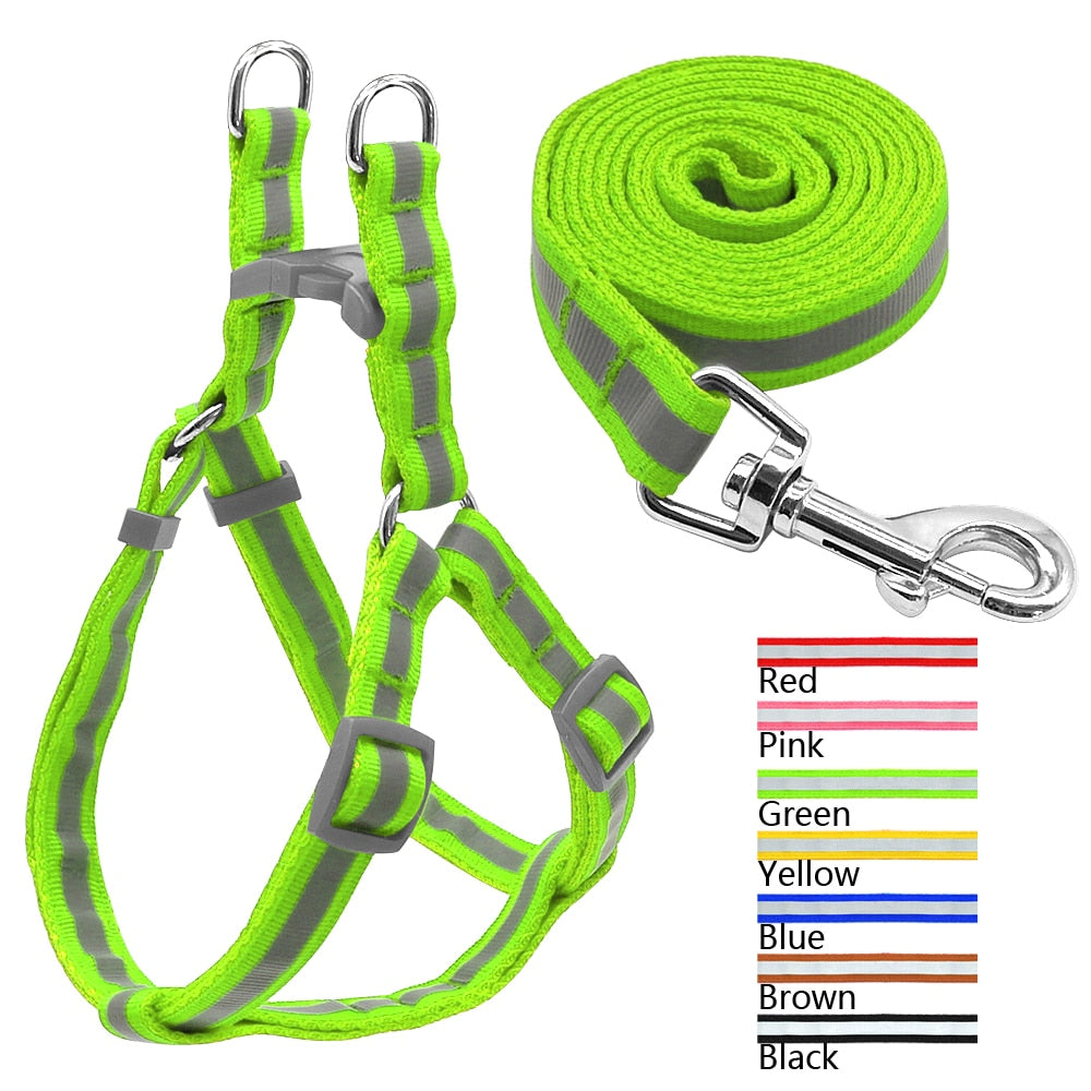 7 Colors Nylon Reflective Dog Harness Leash Lead Set For Small Medium Dogs Puppy Chihuahua Yorkie S M