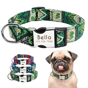 Custom Pet Dog Collar Personalized Nylon Collar Perro Nameplate Tag Collars Engraved For Medium Large Dogs Pug French Bulldog