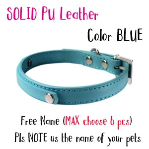 5 Colors DIY Name Dog Collars Leather Personalized Pet Cat Collars with Rhinestone Letters Puppy Collar Size XS-L DOGGYZSTYLE