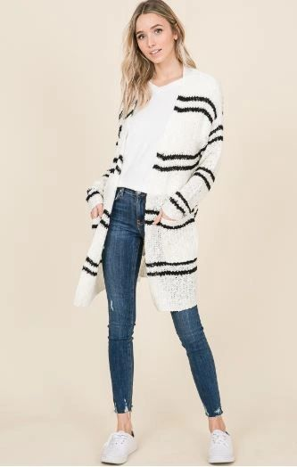 STRIPED DUSTER CARDIGAN IVORY/BLACK