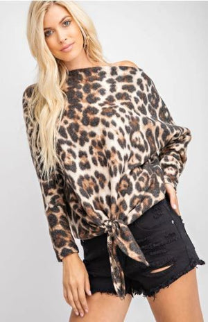 LEOPARD PRINT SOFT BRUSHED TEXTURED KNIT TOP