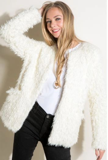 A LITTLE SNOW FAUX FUR JACKET