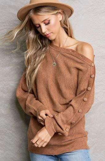 DATE NIGHT OFF SHOULDER KNIT LONG SLEEVE TOP