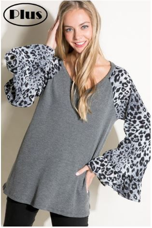 ANIMAL MIX RUFFLE BELL PLUS TOP
