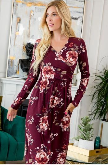SWEET FLORAL DRESS-BURGUNDY