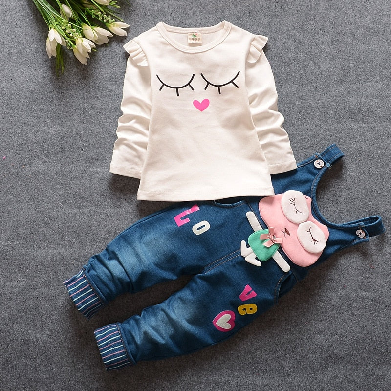 BibiCola Spring Autumn Baby Girls Clothing Set Toddler