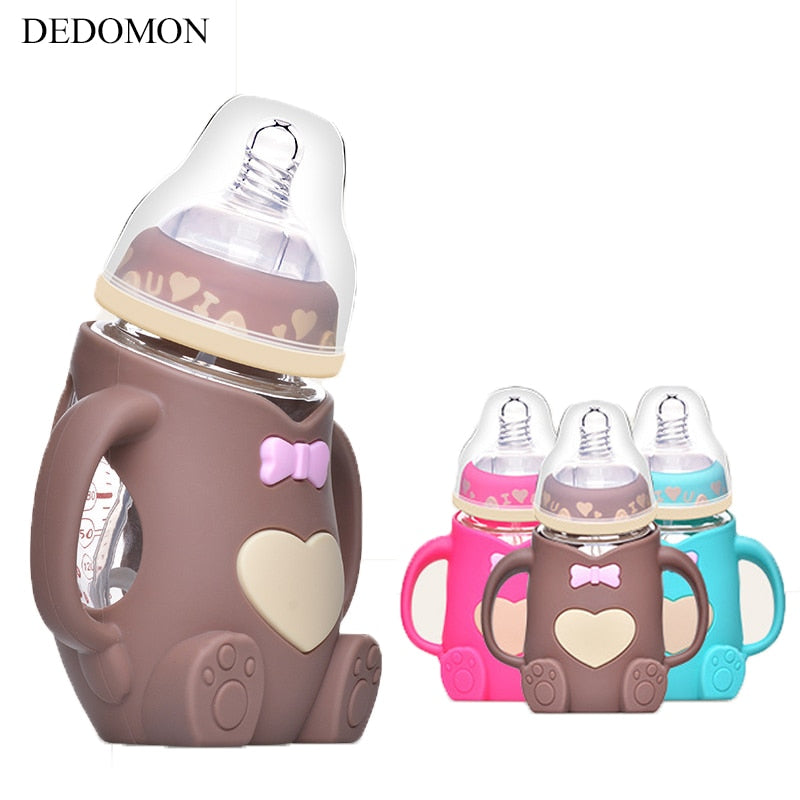 Baby Silicone Milk Feeding Bottle Mamadeira Vidro BPA Free Safe Infant Juice Water Feeding