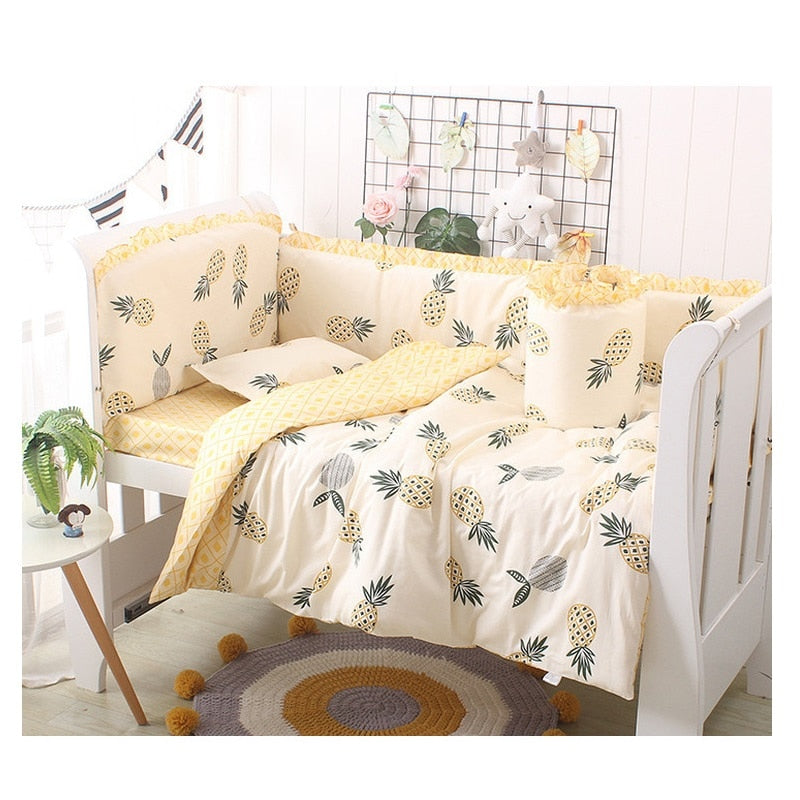 Cartoon Baby Bedding Set Cotton Crib Bedding Set Baby Bed Linens For Girls Boys Bed Bumpers