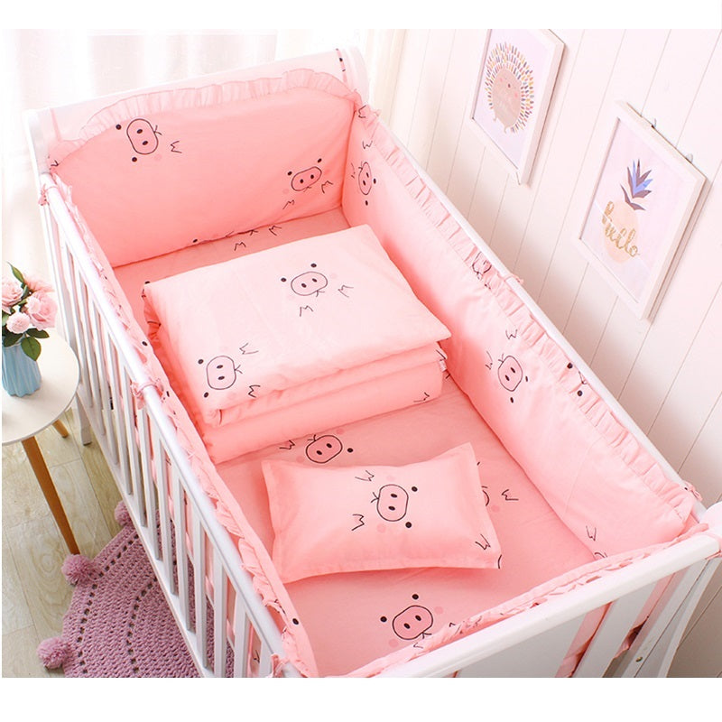 New Arrival Star Striped Crib Bed Linen Kit, Cotton Baby Bedding Set