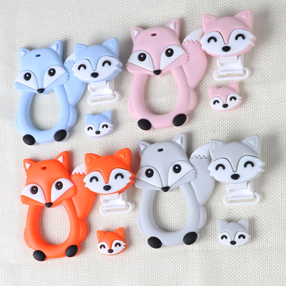 Fox Baby Teether DIY Bebe bijtring Ring Food Silicone Teething Toys Nursing Pacifier Clips Teethers