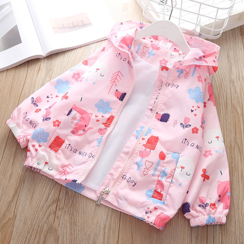 Baby jacket Zipper Hoodie Spring Autumn For Girls Windbreaker clothing children