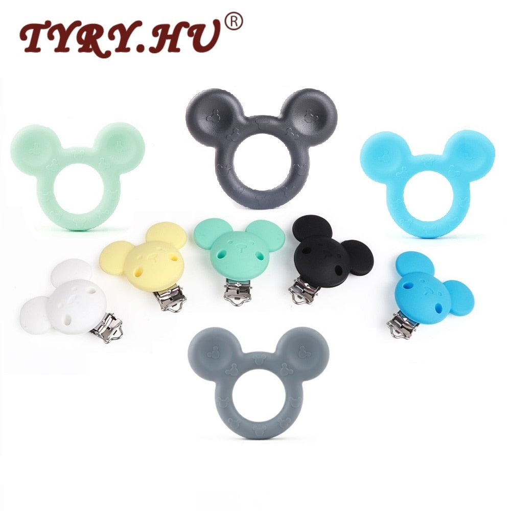 Baby Teether Mickey Silicone Baby Holder Clip Mouse Cartoon Chew Pendant Nursing Pacifier Clip Necklace Newborn Toy
