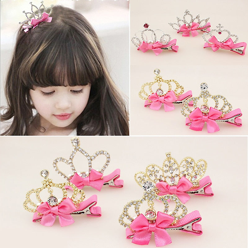 Baby Girls Children Shiny Crown Rhinestone Hairpins Princess Ribbon Bow Crystal Hair