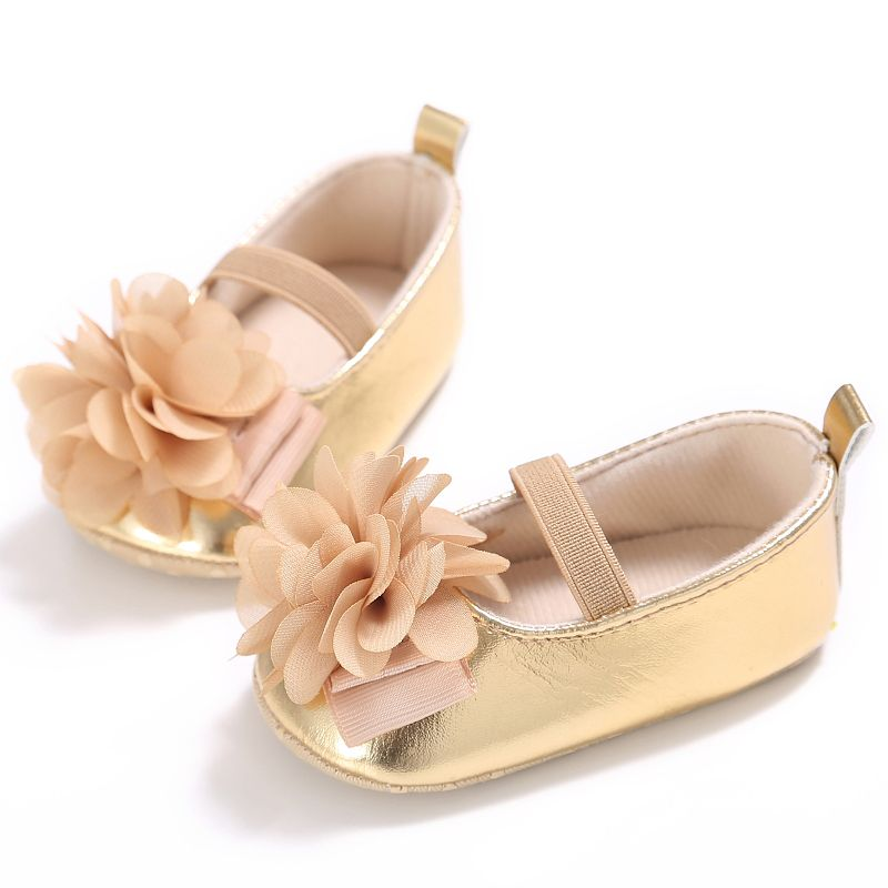 Baby Girl Shoes baby moccasins PU Soft Soled Flower Pink Cotton Shoes