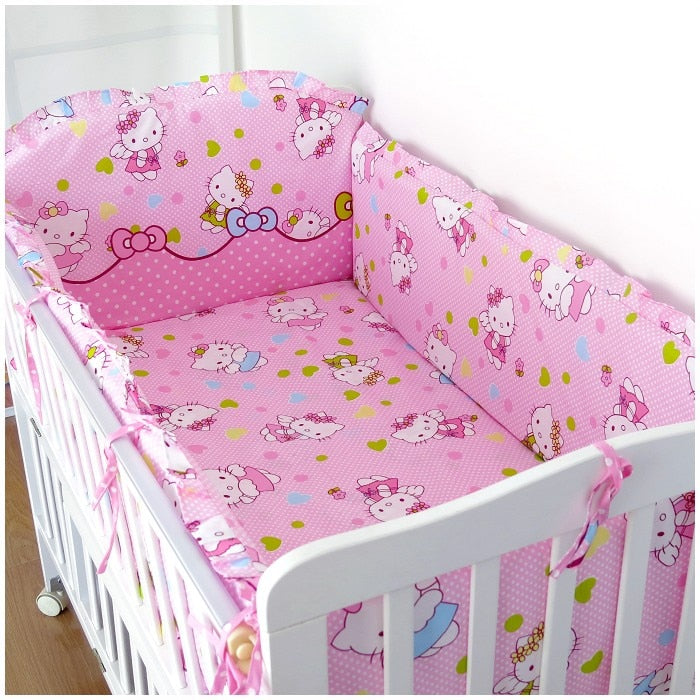 Promotion! 6PCS Cartoon Baby bedding set for girls Baby crib bedding