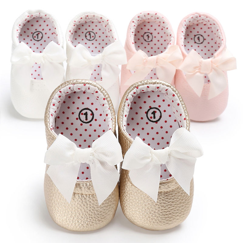 Baby Girl Pink Kahaki White Pu Leather Princess Shoes Bowknot First Walkers