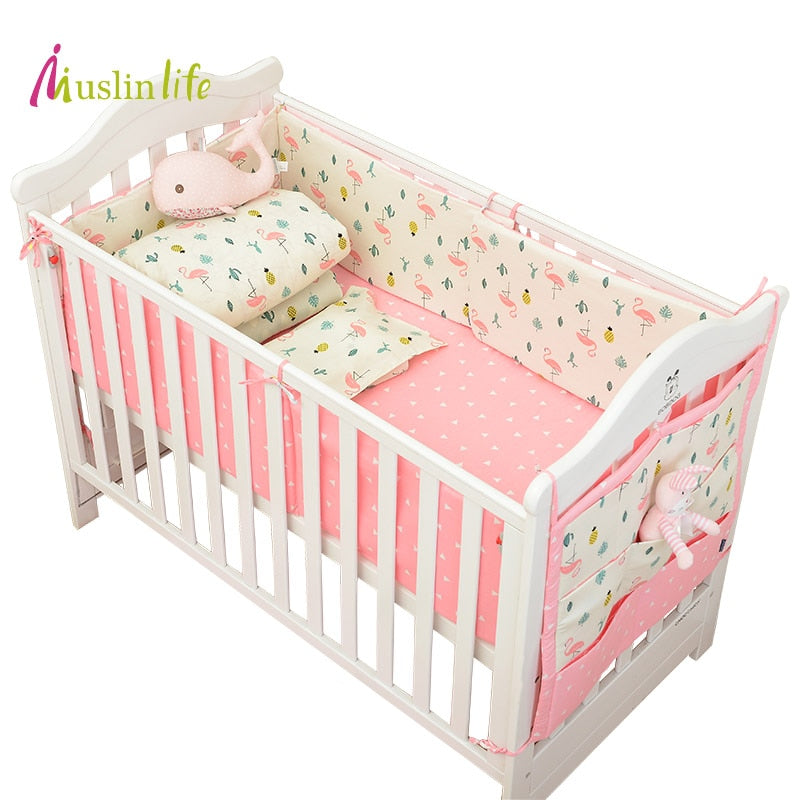 Muslinlife Infant Crib Bumper Bed Protector Baby Kids Cotton Nursery bedding,Flamingo Bedding