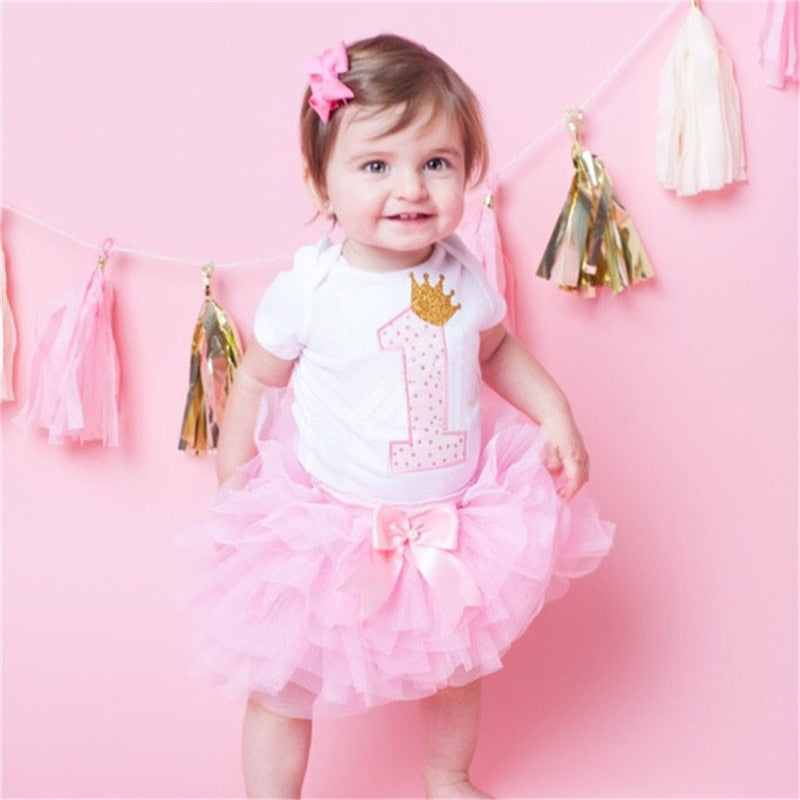 Cotton Baby Girls Clothes 1 Year 1st Birthday Dress Party Dresses For Girl Toddler Kids