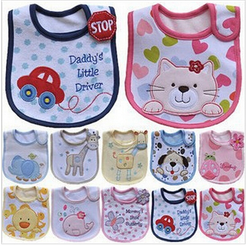 Hzirip Baby Bibs Cute Cartoon Pattern Toddler Baby Waterproof Saliva Towel Cotton