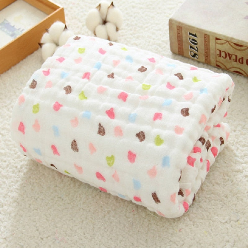 Cotton Swaddle Wrap for Newborn Babies 6 Layer Bath Towel Blanket Baby Bedding