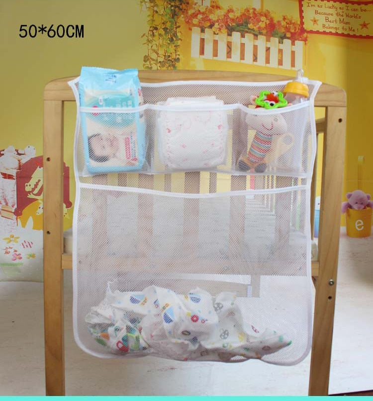 Baby Cot Bed Hanging Storage Bag Crib Organizer Toy Diaper nappy Pocket